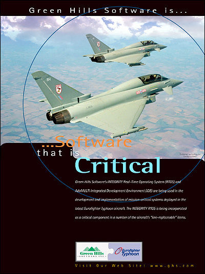Eurofighter Typhoon, using INTEGRITY RTOS, Secure RTOS, MILS-Compliant, EAL 6+, Safety Critical, AdaMULTI