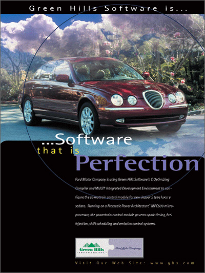 Ford Jaguar, using Green Hills C/C++ optimizing embedded compilers, c optimizing compiler and MULTI IDE advanced debugger