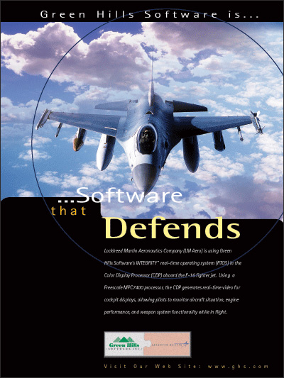 Lockheed Martin-f16, using INTEGRITY RTOS, Embedded Security, MILS-Compliant, EAL 6+, MLS, POSIX 1003.1 Conformant