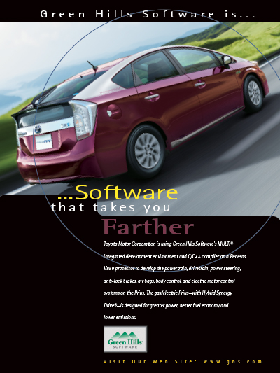 Toyota Prius using Green Hills Software's MULTI IDE and C optimizing embedded compilers