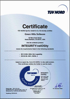 Green Hills INTEGRITY RTOS Receives CENELEC EN 50128 Railway